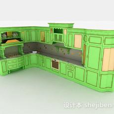 欧式风格绿色L型整体橱柜3d模型下载