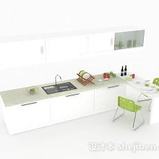 白色上下层整体橱柜3d模型下载