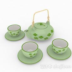 绿色陶瓷茶具3d模型下载