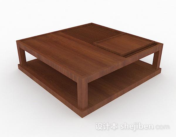 日式木质小茶几3d模型下载