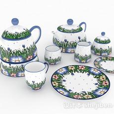 田园风格茶具3d模型下载