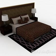 棕色木质双人床3d模型下载