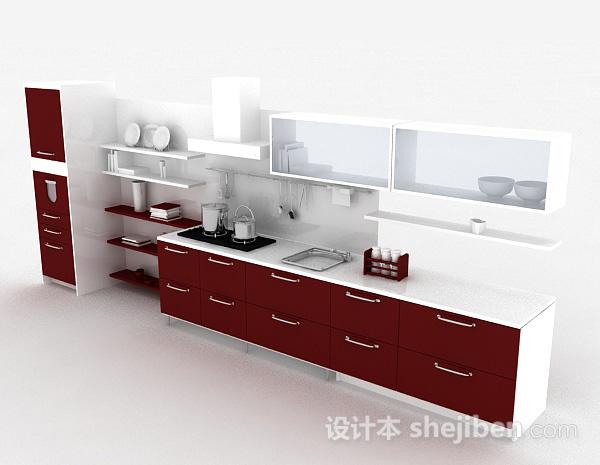 简约红色整体橱柜