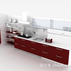 简约红色整体橱柜3d模型下载