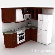 L型实木整体橱柜3d模型下载