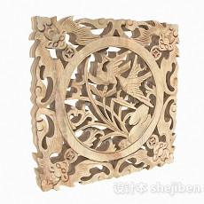中式原木色镂空雕刻兰花窗户3d模型下载