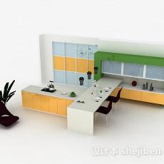黄色多功能整体橱柜3d模型下载