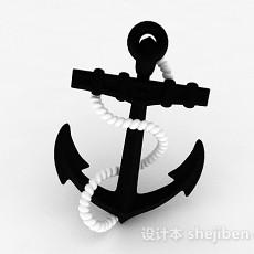 复古黑色船锚摆件3d模型下载