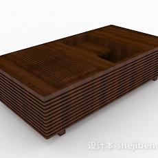 棕色木质茶几3d模型下载