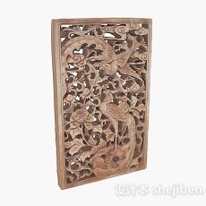 中式风格木质雕刻凤凰图案窗户3d模型下载