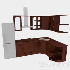 欧式风格L型棕色时尚橱柜3d模型下载