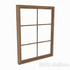 棕色木质格子窗3d模型下载