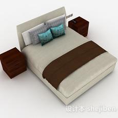 灰色双人床3d模型下载