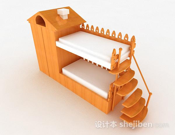 黄色木质儿童床上下床