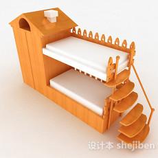黄色木质儿童床上下床3d模型下载