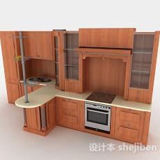 现代风格上下式一体木质整体橱柜3d模型下载