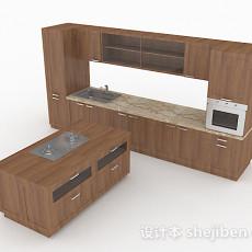 原木风格木质整体橱柜3d模型下载