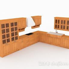 欧式原木色L型整体橱柜3d模型下载