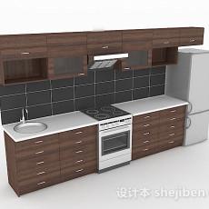 现代深棕色一字型整体橱柜3d模型下载