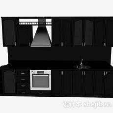 最新欧式黑色一字型上下层时尚橱柜3d模型下载