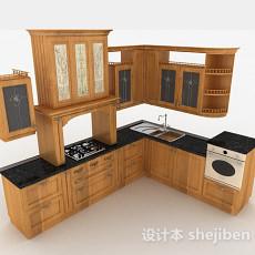 欧式古典木质整体橱柜3d模型下载