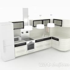 简约白色L型整体橱柜3d模型下载