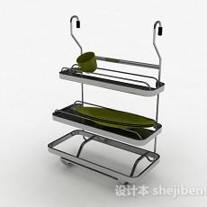 简约不锈钢三层晾碗架3d模型下载