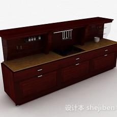 欧式实木一字型整体橱柜3d模型下载