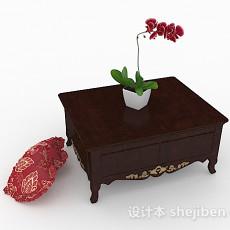 中式家居棕色木质茶几3d模型下载