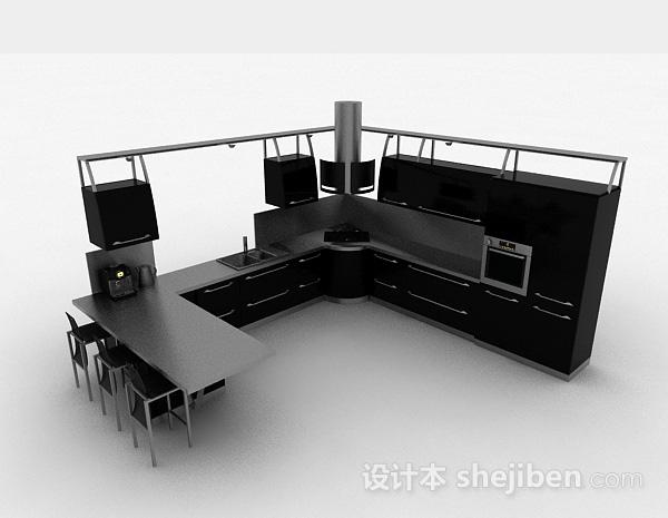 现代风格时尚黑色L型整体橱柜