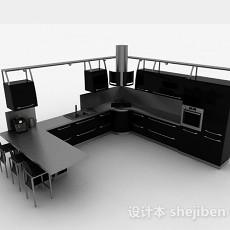 现代风格时尚黑色L型整体橱柜3d模型下载