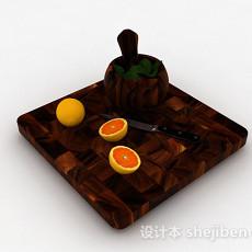 棕色实木拼接菜板3d模型下载