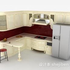 欧式奢华L型整体橱柜3d模型下载