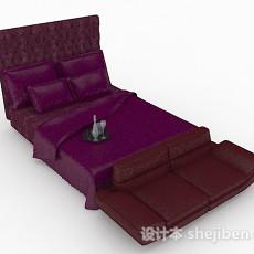 紫色双人床3d模型下载