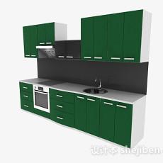 最新现代风格绿色一字型上下层橱柜3d模型下载