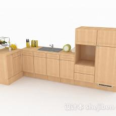 原木色L型家居厨房橱柜3d模型下载