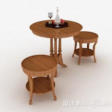 圆形小餐桌组合3d模型下载