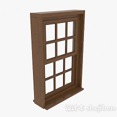 现代风格棕色木质上下式推拉窗3d模型下载