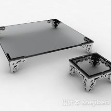 灰色玻璃茶几组合3d模型下载