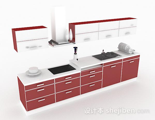 红色上下层整体橱柜