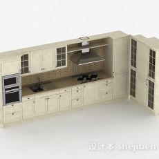 米白色美式L型上下层橱柜3d模型下载