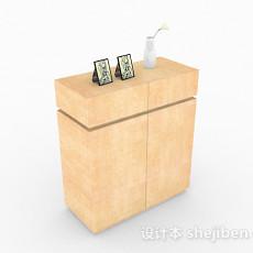 黄色木质玄关柜3d模型下载