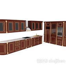 棕色欧式L型木质整体橱柜3d模型下载