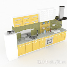 米黄色一字型整体橱柜3d模型下载