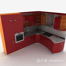 现代风格酒红色烤漆门整体橱柜3d模型下载