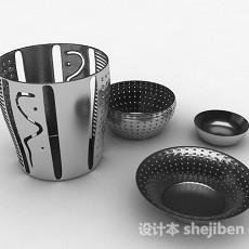 不锈钢镂空厨房用具组合3d模型下载