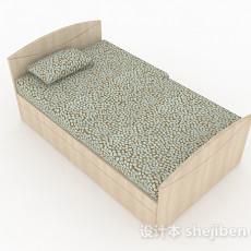 木质家居单人床3d模型下载