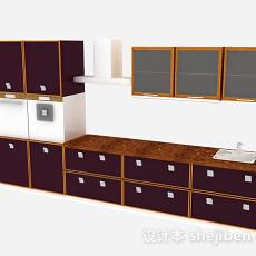 深紫色木质整体橱柜3d模型下载