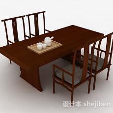 中式木质餐桌椅组合3d模型下载