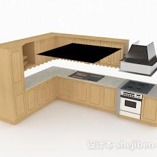 L型米黄色木质整体橱柜3d模型下载